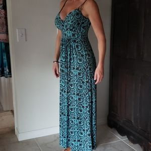 Browm and Turquoise Maxi Dress